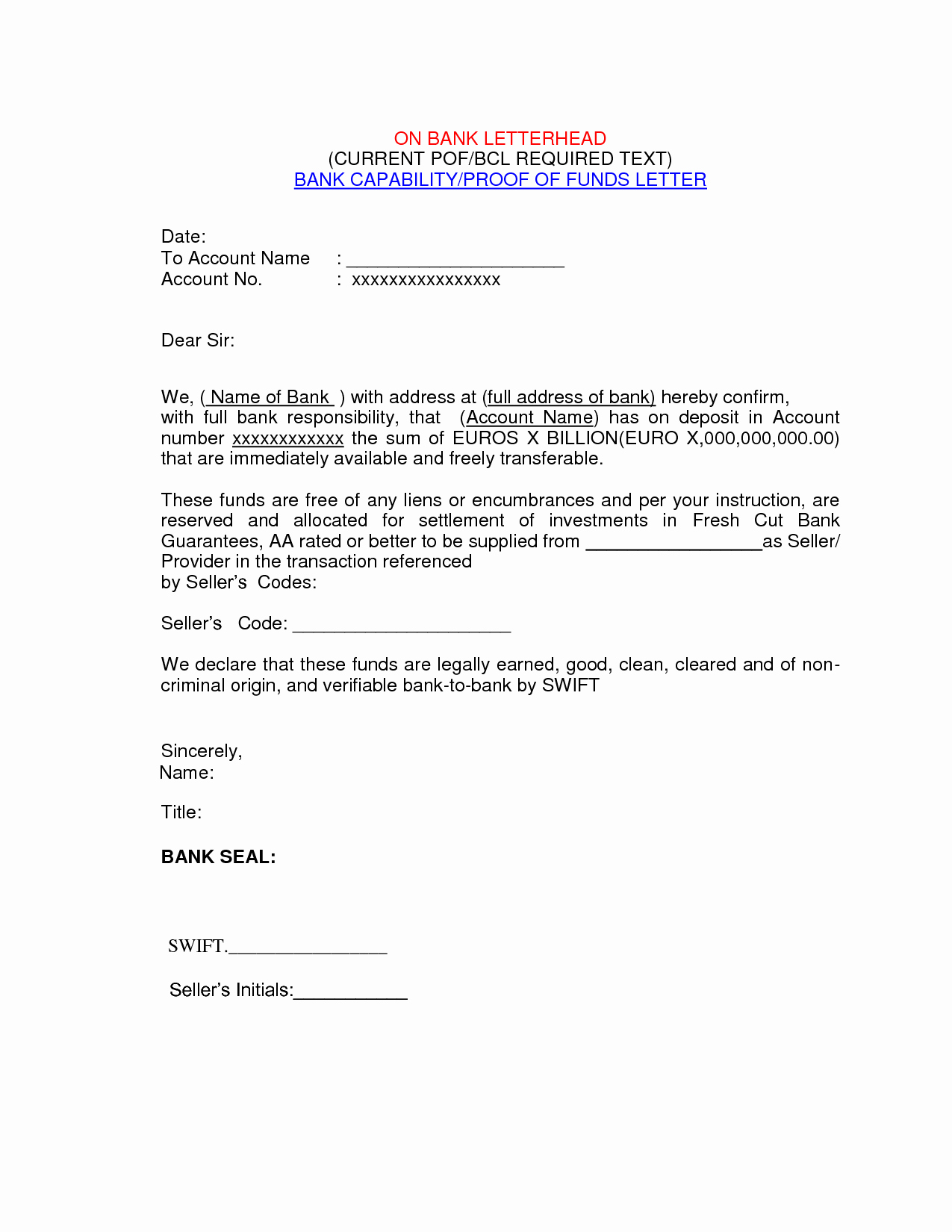 Real Estate Proof Of Funds Letter Example Luxury Best S Of Proof Funds Letter Template Proof Of