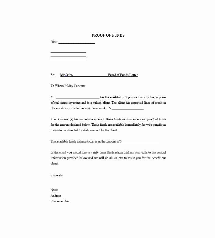 Real Estate Proof Of Funds Letter Example Unique 25 Best Proof Of Funds Letter Templates Template Lab