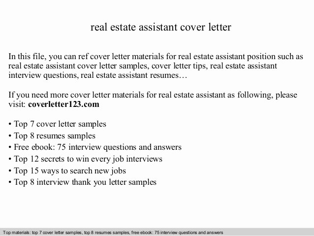 Realtor Recommendation Letter Examples Fresh Real Estate assistant Cover Letter