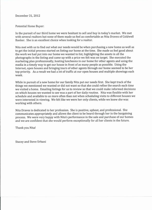 Realtor Recommendation Letter Examples Inspirational Coldwell Banker Professionals Nita Draves Realtor In