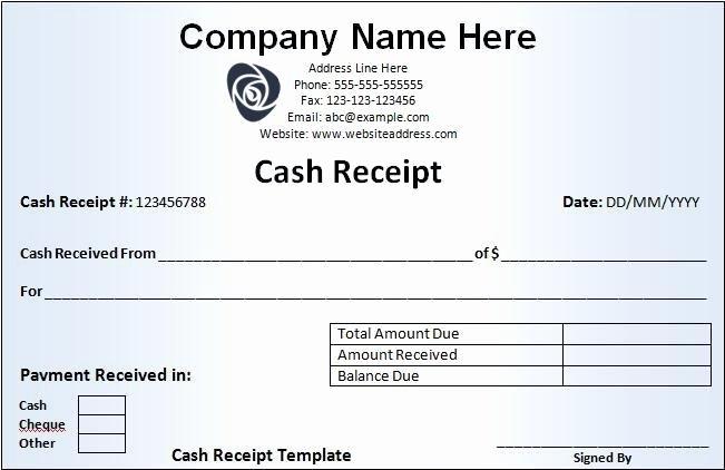 Receipt for Cash Payment Beautiful Cash Receipt Template