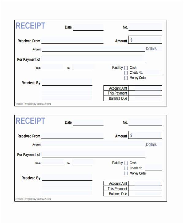 Receipt for Cash Payment Elegant 10 Cash Receipt form Sample Free Sample Example format