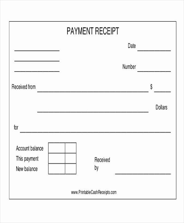 Receipt for Cash Payment New Cash Payment Receipts