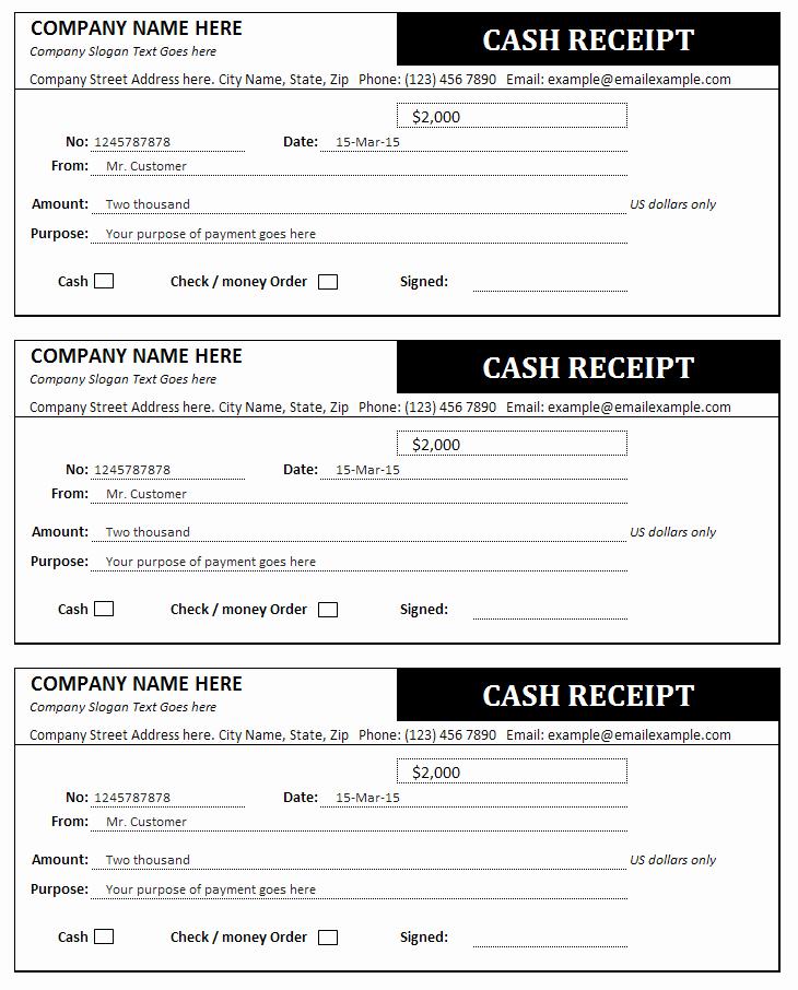 Receipt for Cash Payment Unique Cash Receipt form Examples Vatansun
