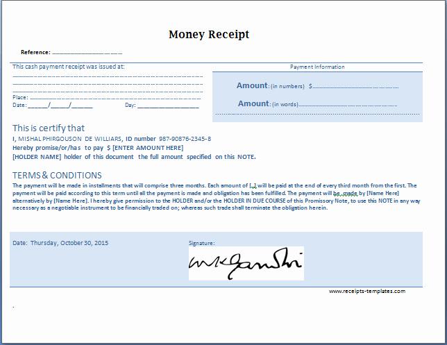 Receipt for Cash Payment Unique Money Receipt Templates for Ms Word & Excel