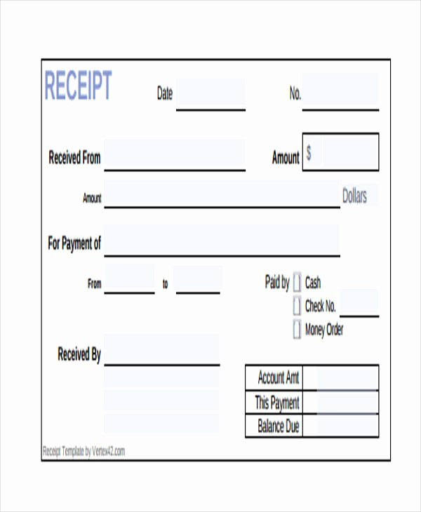 Receipt for Cash Payment Unique Printable Receipt forms 41 Free Documents In Word Pdf