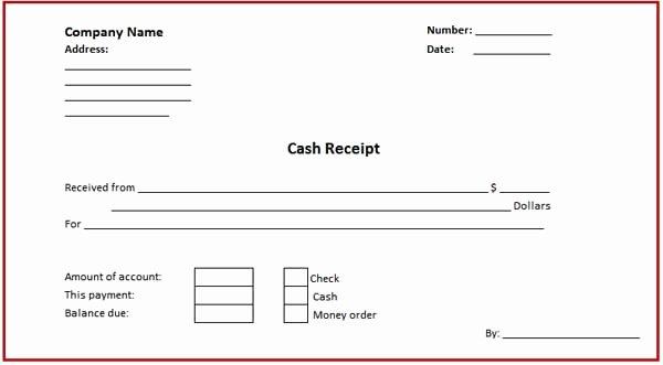 Receipt for Cash Payment Unique Receipt