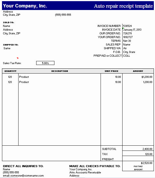 Receipt for Service Template Best Of Auto Repair Receipt Template – Excel – Free Receipt Template