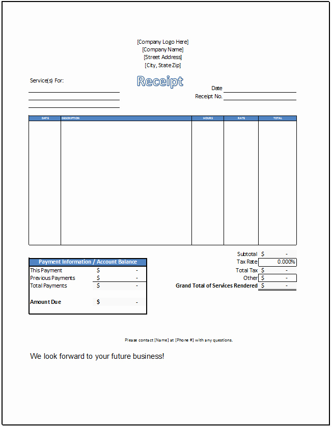 Receipt for Service Template Elegant Service Receipt Template Spreadsheetshoppe