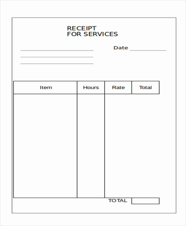 Receipt for Service Template Luxury 10 Blank Receipt Templates – Examples In Word Pdf