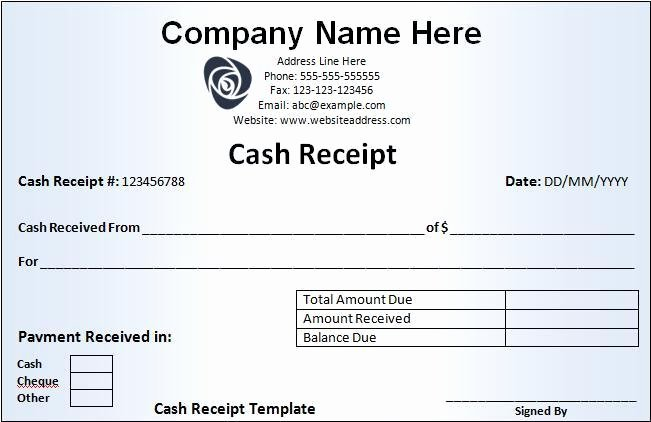 Receipt format for Payment Received Beautiful Cash Receipt Template