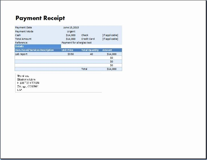Receipt format for Payment Received Lovely Ms Excel Payment Receipt Template