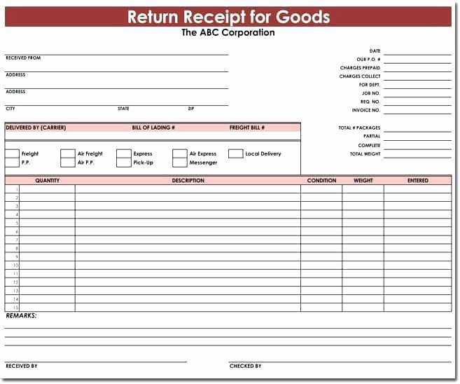 material receipt form template practical goods received note format