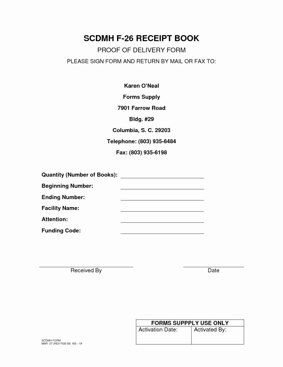 Receipt Of Goods form Beautiful 5 Proof Delivery Templates