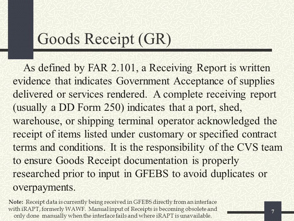 Receipt Of Goods form Fresh Gfebs Goods and Services Receipt Processes for Ppt