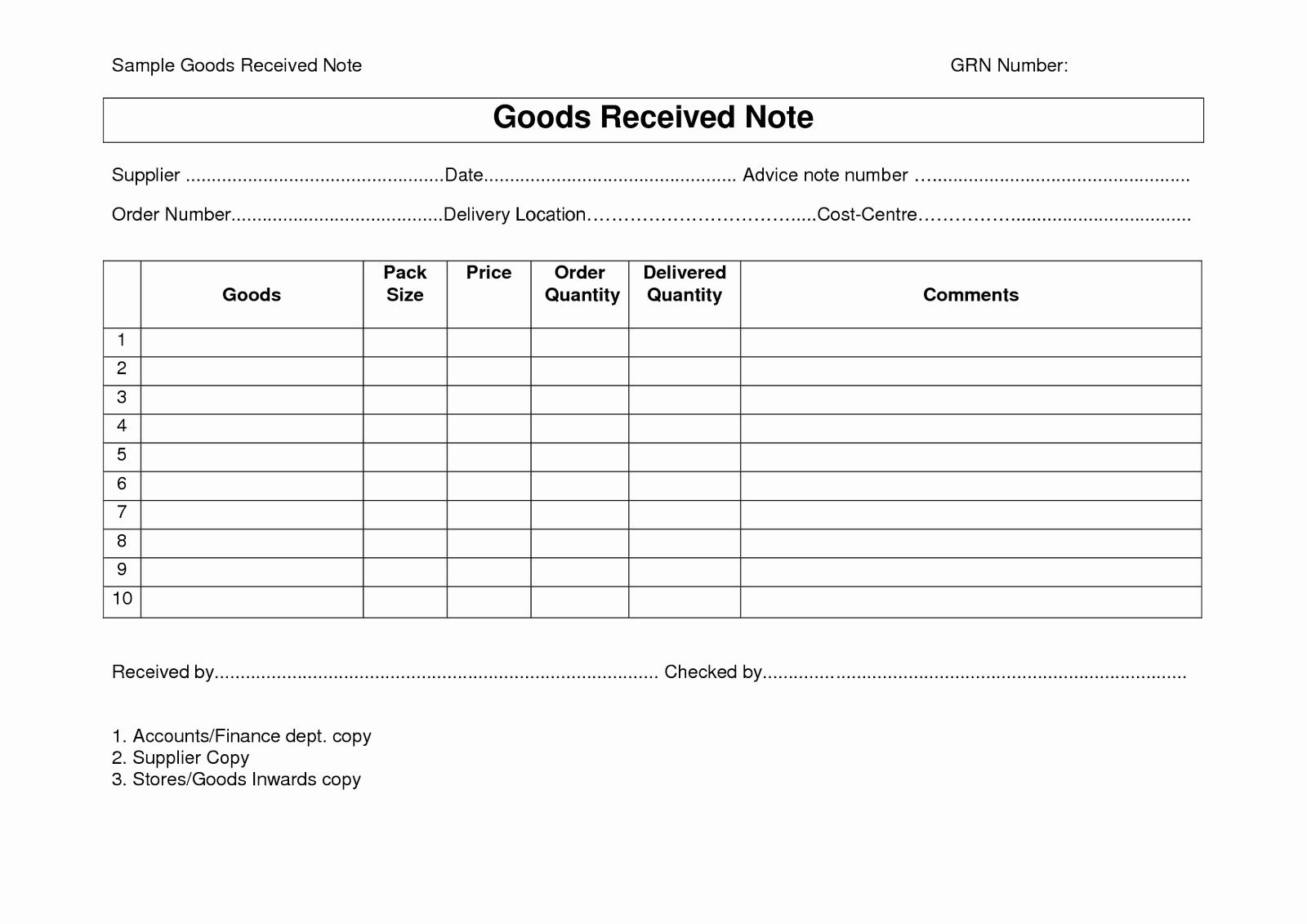 Receipt Of Goods form Fresh Goods Receipt Note Grn format Template