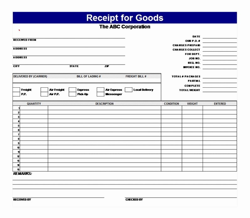 Receipt Of Goods form Luxury Receipt for Goods