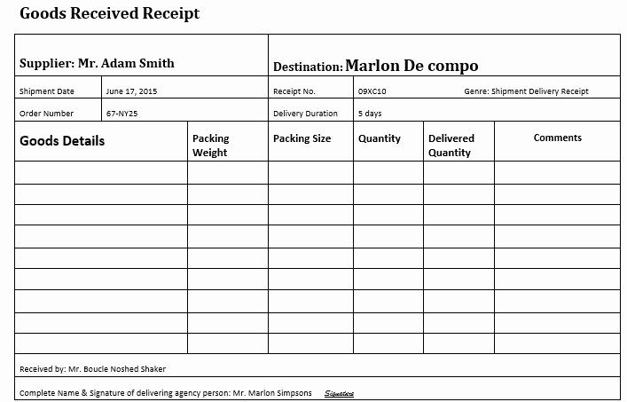 Receipt Of Goods Template Elegant 10 Free Sample Goods Delivery Receipt Templates