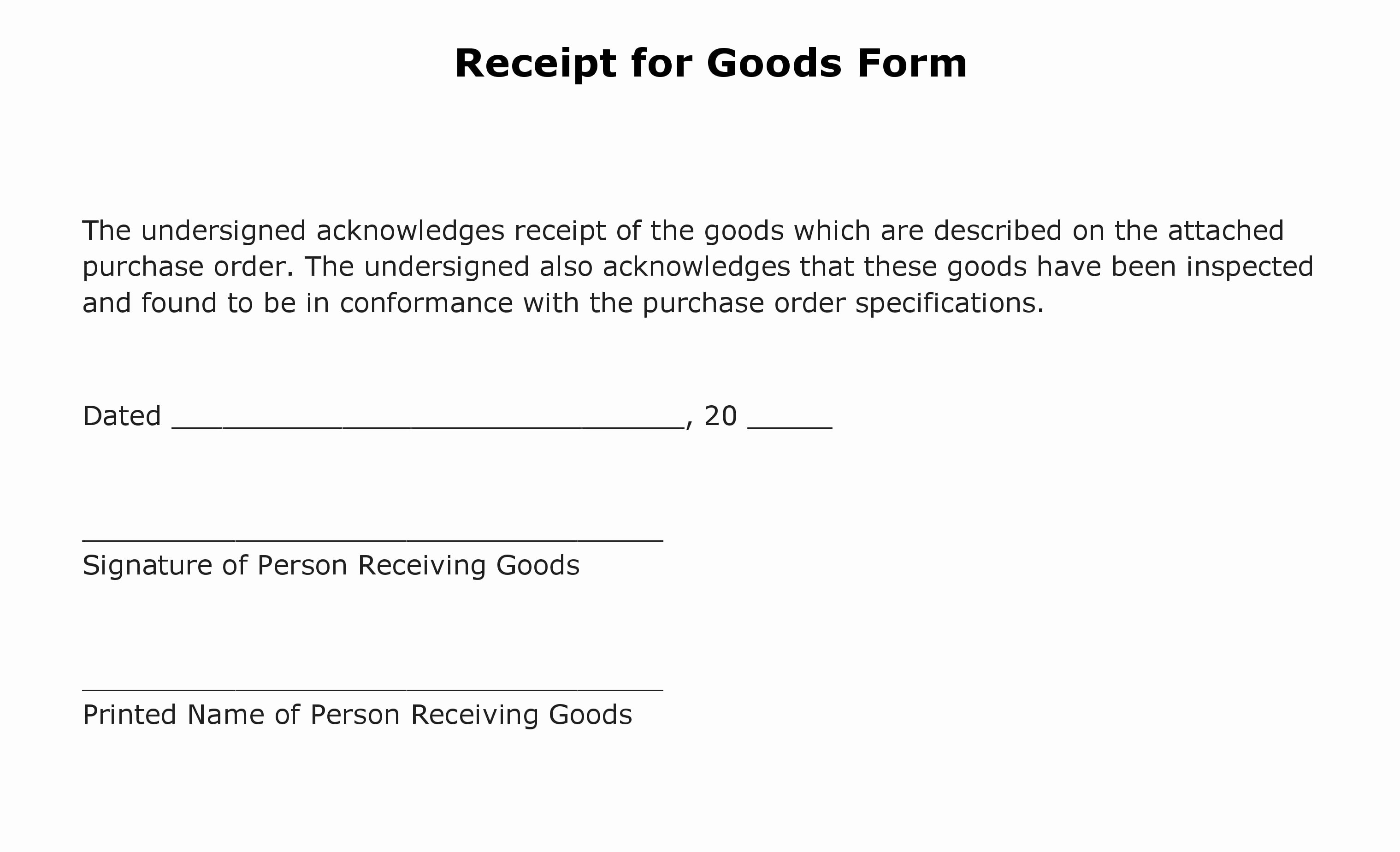 Receipt Of Goods Template Elegant Free Receipt for Goods form Pdf Template