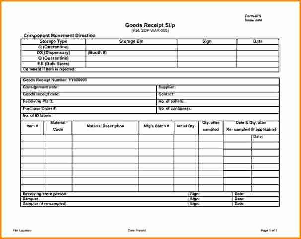 Receipt Of Goods Template Fresh 5 Receipt Of Goods Template