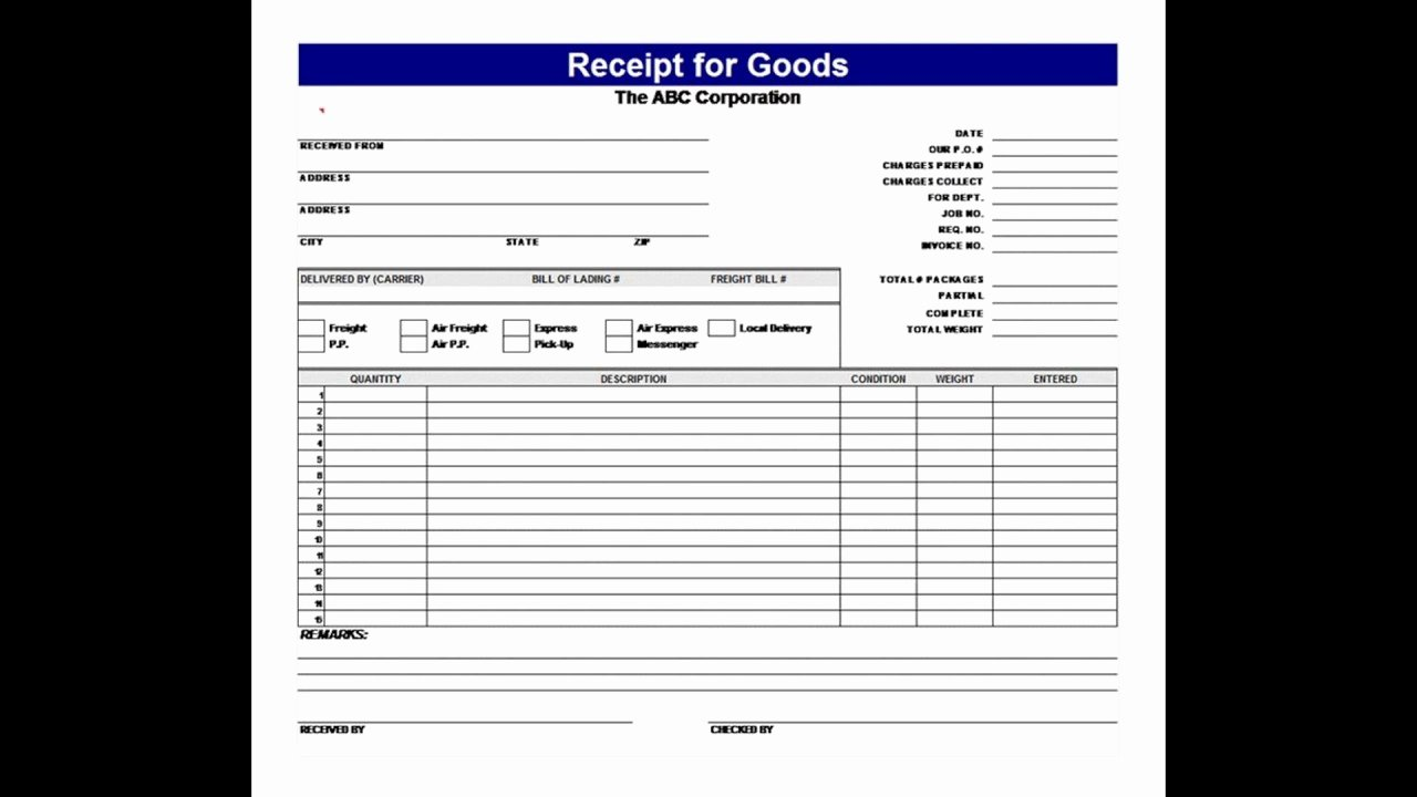 Receipt Of Goods Template Inspirational Goods Received Note Template Excel