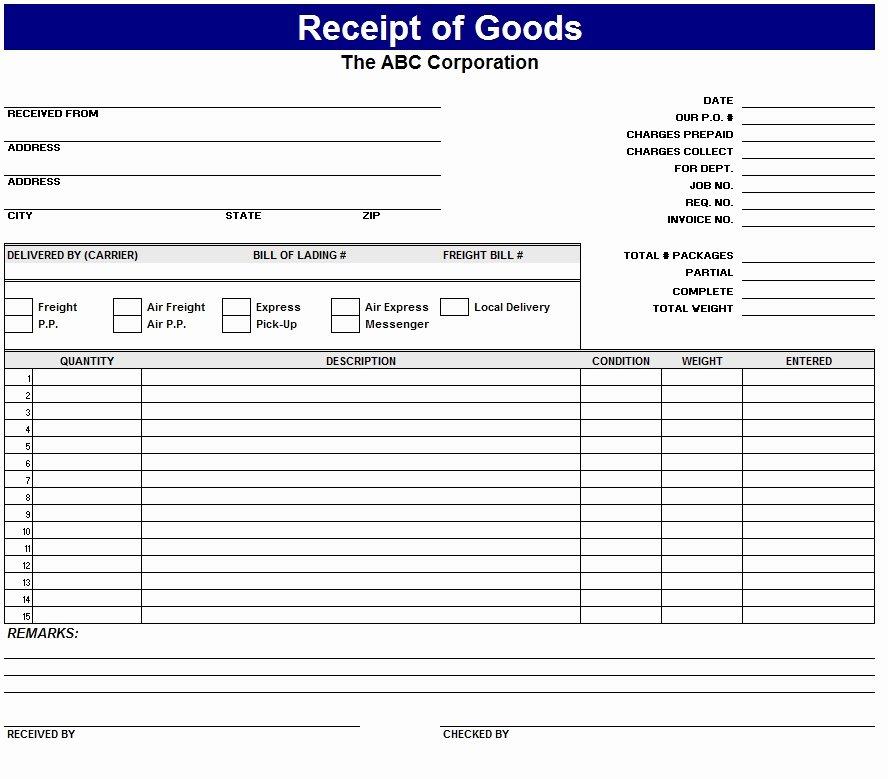 Receipt Of Goods Template Lovely Receipt Goods Template Sample