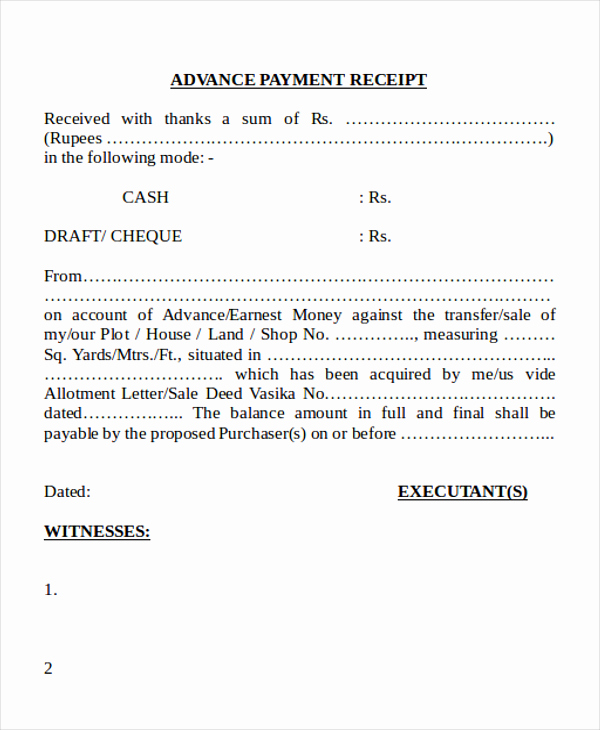 Receipt Of Payment Letter Awesome Cash Payment Receipt 7 Examples In Word Pdf