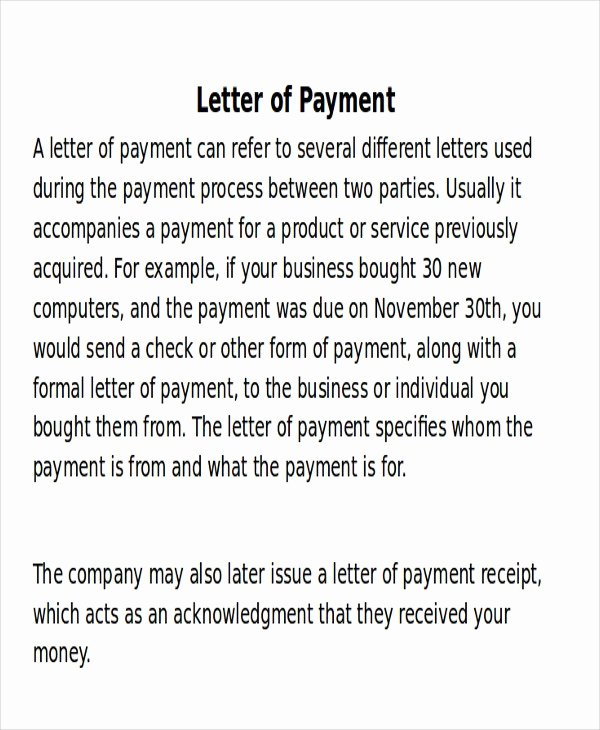 Receipt Of Payment Letter Beautiful Payment Letter format