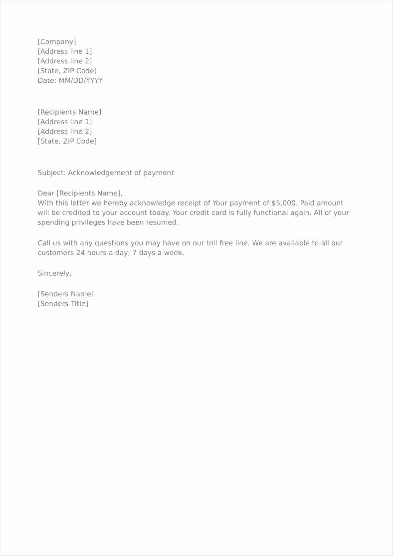 Receipt Of Payment Letter Luxury 9 Payment Acknowledgment Letter Templates Free Pdf Doc