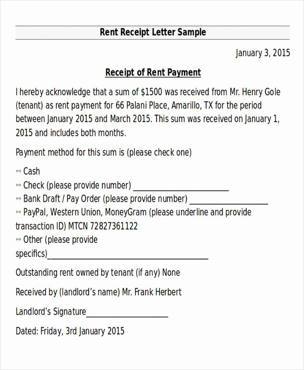Receipts for Rent Paid Lovely 10 Receipt Of Payment Letters Pdf Doc Apple Pages