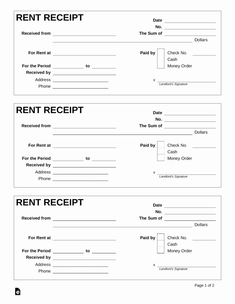 Receipts for Rent Paid Luxury Free Rent Receipt Template Pdf Word