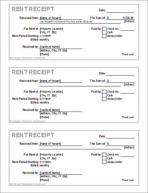 Receipts for Rent Paid New Free Receipt Template