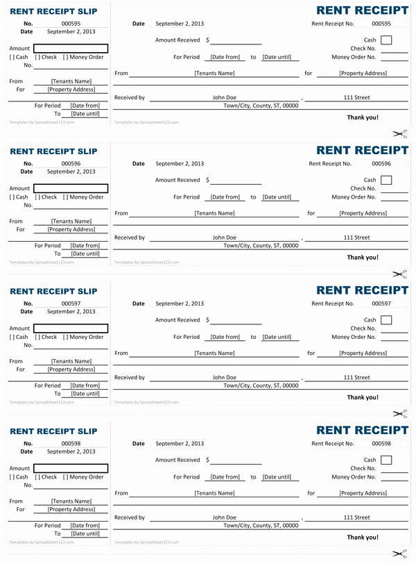 Receipts for Rental Payments Fresh Rent Receipt