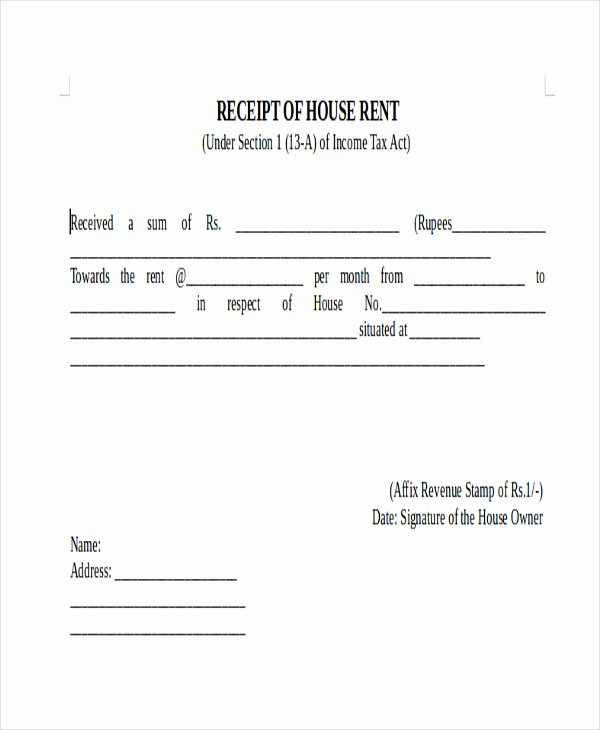 Receipts for Rental Payments New 7 Sample Payment Receipt forms Free Sample Example