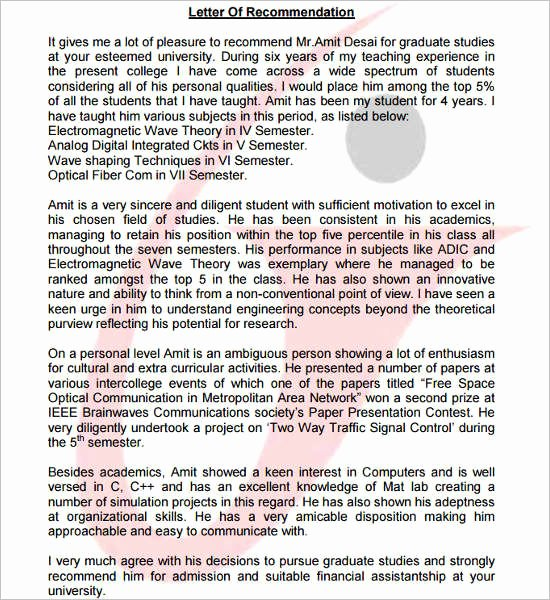 Recommendation Letter Computer Science Best Of 55 Re Mendation Letter Template Free Word Pdf formats