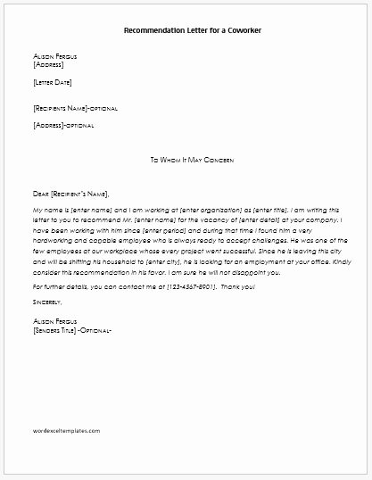 Recommendation Letter for A Coworker Best Of Re Mendation Letters for Coworker