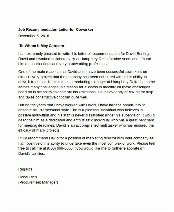 Recommendation Letter for A Coworker New 13 Coworker Re Mendation Letter Templates Pdf Doc