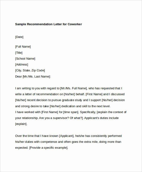Recommendation Letter for A Coworker Unique Coworker Re Mendation Letter 10 Free Word Pdf