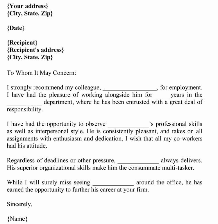 Recommendation Letter for A Coworker Unique Letter Of Re Mendation for Co Worker 18 Sample Letters