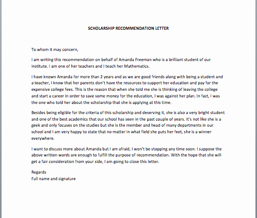 Recommendation Letter for A Scholarship Fresh Scholarship Re Mendation Letter Smart Letters
