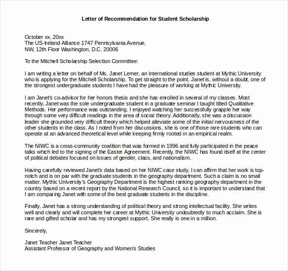 Recommendation Letter for A Scholarship Inspirational 27 Letters Of Re Mendation for Scholarship Pdf Doc