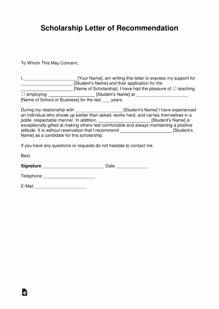 Recommendation Letter for A Scholarship New Free Re Mendation Letter for Scholarship Template with