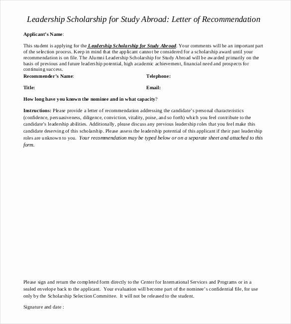 Recommendation Letter for A Scholarship Unique 27 Letters Of Re Mendation for Scholarship Pdf Doc