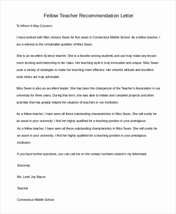 Recommendation Letter for A Teacher Fresh 8 Sample Teacher Letters Of Re Mendation
