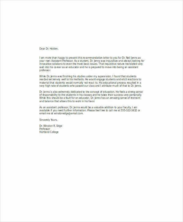 Recommendation Letter for assistant Professor Awesome 11 Professor Re Mendation Letter Samples