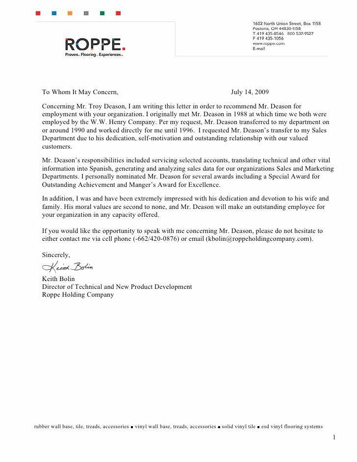 Recommendation Letter for Award Nomination Fresh Re Mendation Letter From Keith Bolin