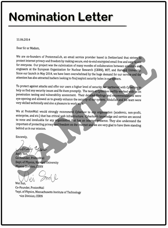 Recommendation Letter for Award Nomination Luxury Nomination Letter Sample
