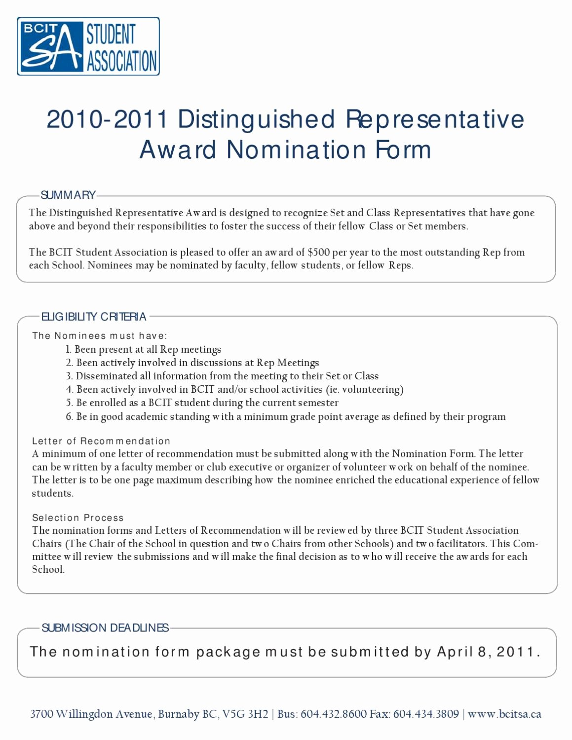 Recommendation Letter for Award Nomination New Distinquished Set Representative Award Nomination form by