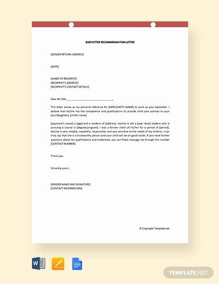 Recommendation Letter for Babysitter Fresh 8 Babysitter Reference Letter Templates Free Sample