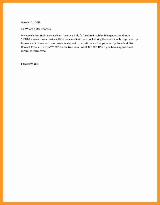 Recommendation Letter for Babysitter Fresh Babysitter Letter Of Re Mendation